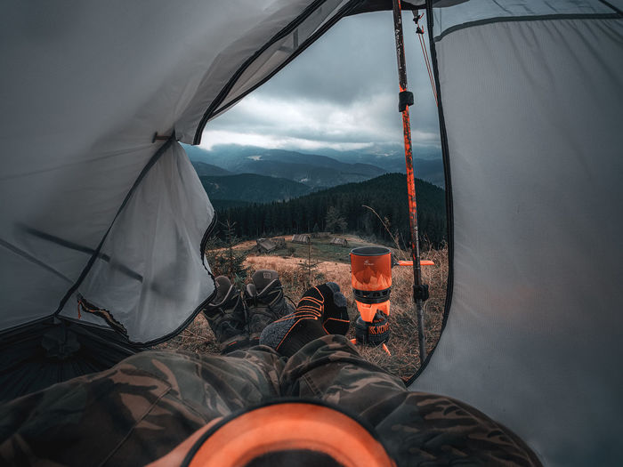 High angle view of tent against sky