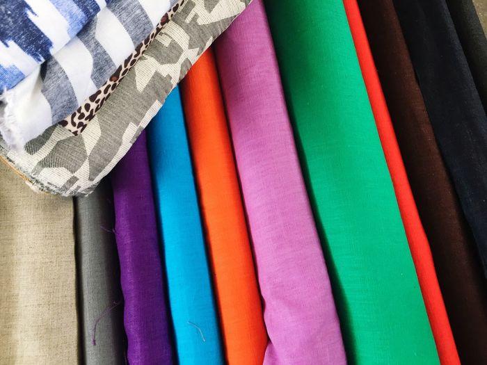 Full frame shot of colorful fabrics