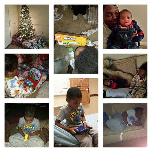 Our 2013 Christmas Start12am Olol @4:30am until now..n im goin back 2 sleep thankfulmybabyfeelbetter. Ps.wontfallasleepinsiseyesighteveragain lol she got me sleep in that last pic