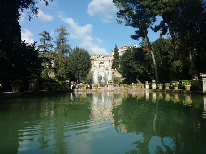 Paradise Italy Travel Destinations Travel Tranquility Rome Tivoli Green Color Green Park Garden Reinassance Tree Water City Reflection Sky Architecture Cloud - Sky Reflecting Pool Lake Sculpture Fountain Reflection Lake