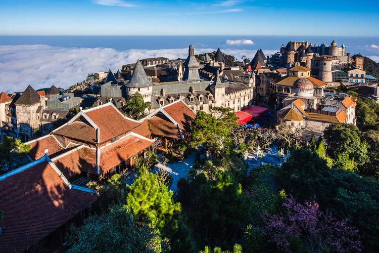 Landscape of castles from top view at bana hills, da nang, vietnam