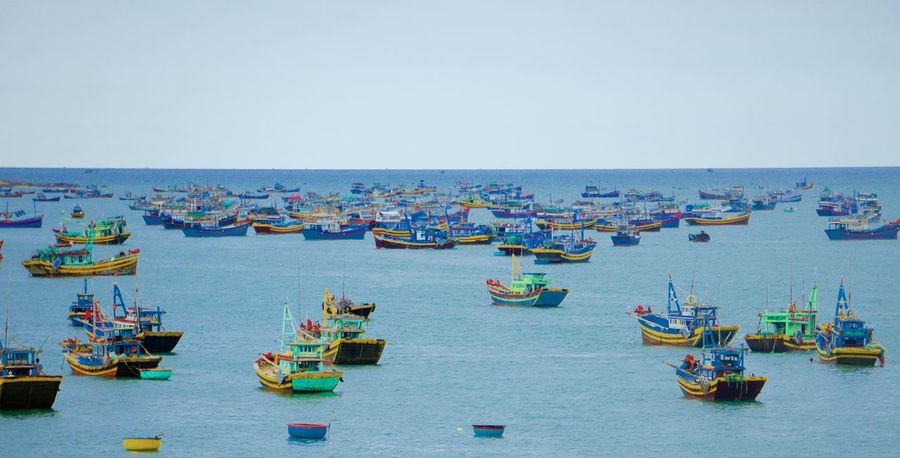Abundance Beauty In Nature Blue Boat Day Fishing Boat Fishing Fleet Fishing Village Group Of Objects Idyllic In A Row Large Group Of Objects Mode Of Transport Nature Nautical Vessel Ocean Outdoors Scenics Side By Side Sky Tourism Traditional Fishing Boat Tranquil Scene Tranquility