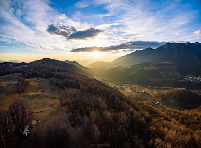 Scenic view of mountains during sunset