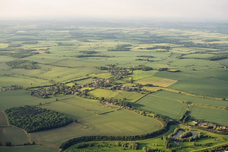 Aerial View Agriculture Beauty In Nature Day Field Green Color Landscape Nature No People Outdoors Patchwork Landscape Rural Scene Scenics Sky Tranquil Scene Tranquility
