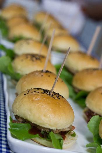 Appetizer Bread Bun Close-up Day Fast Food Food Food And Drink Freshness Gourmet Hamburger Indoors  No People Ready-to-eat Skewer Snack Stuffed Unhealthy Eating