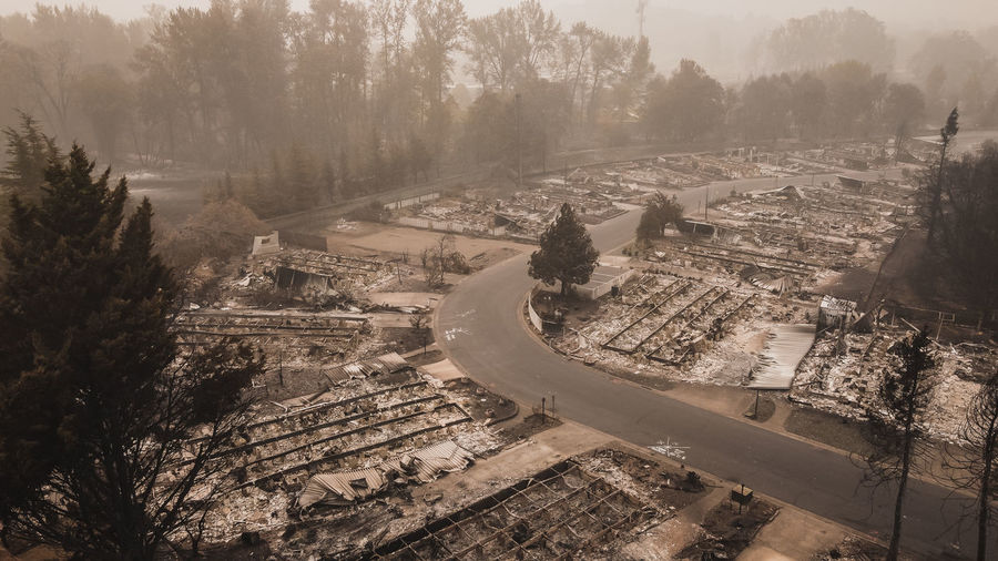 Forest fire destroys many family homes after wildfire blows through oregon.