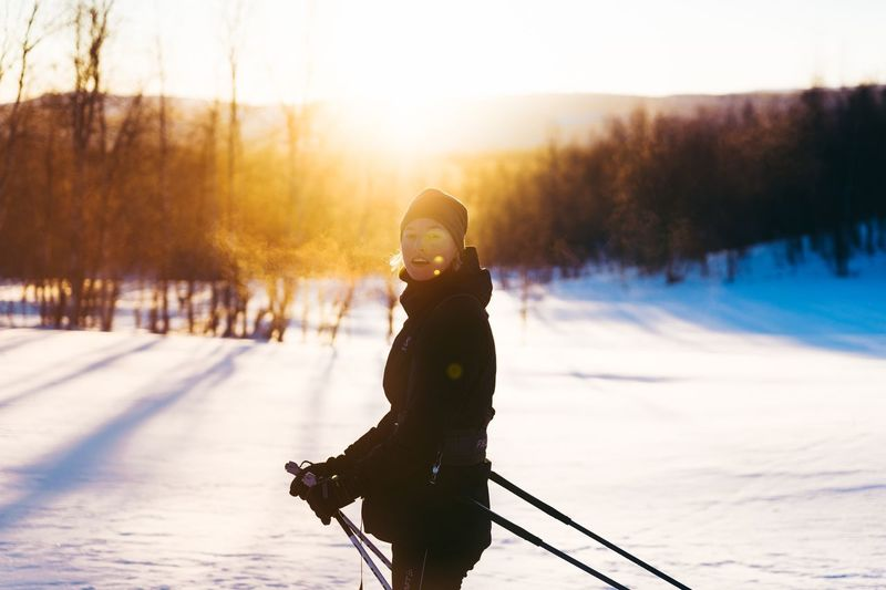 Crosscountry Skiing Winter Snow Cold Temperature Nature Real People One Person Weather Winter Sport Outdoors