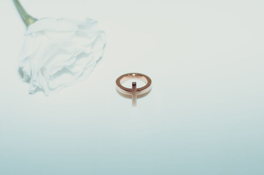 Ring with white flower Close-up Flower Gold Jewel Jewelry Minimal No People Petals Product Photography Ring Rose Gold White White Background