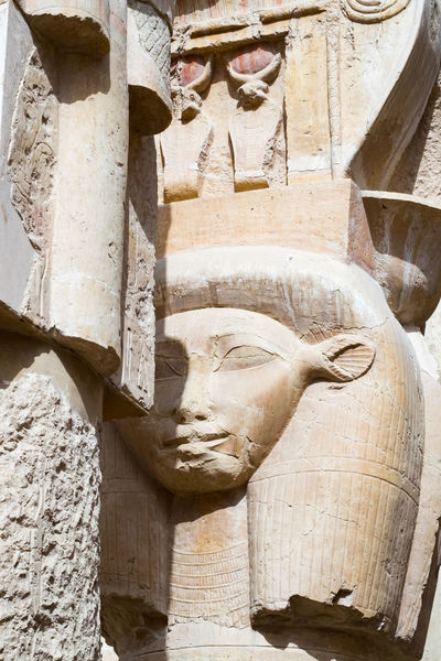 Column Capital with the head of the goddess Hathor, from the Mortuary Temple of Hatshepsut at Deir el-Bahri Ancient Ancient Civilization Architecture Art Column Egypt Goddess Hathor History No People Pharaoh Religion Sculpture Statue Stone Material Travel