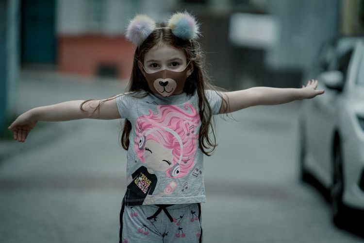 Cute girl with cute mask