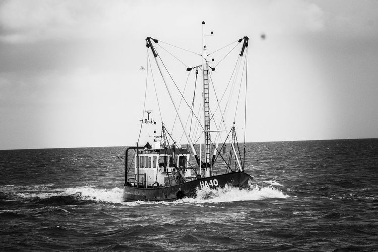 Coming home with the catch Fishing Vessel Blackandwhite Sea Sky Water Horizon Over Water Nautical Vessel Horizon Waterfront Fishing Industry
