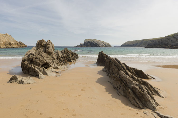 Cantabria Arnia Beach Beauty In Nature Coast Day Horizon Over Water Landscape Nature No People Ocean Outdoors Rock - Object Sand Scenics Sea Shore Sky Tranquil Scene Tranquility Water