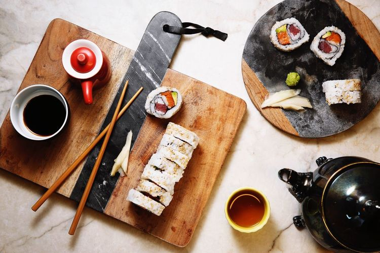 Food And Drink Food Ingredients Directly Above Gourmet Sushi Time Sushi Still Life Freshness Healthy Eating