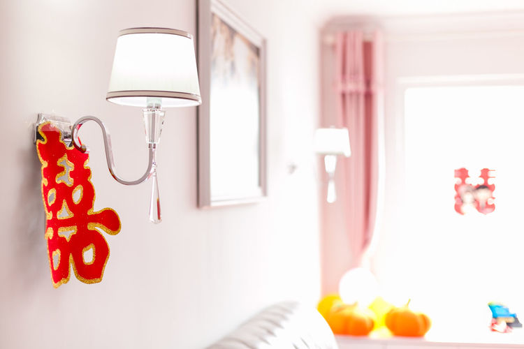 Close-up Decoration Domestic Room Electric Lamp Empty Happy Event Indoors  Lamp Multi Colored No People Red Still Life Wedding Wedding Day