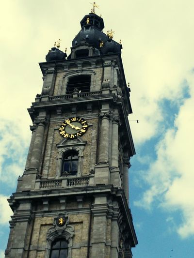 Belgium Vacation Tower Clock Tower Clock Bellfry Sky And Clouds Blue Sky Flemish Flemish Architecture