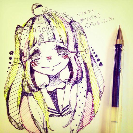 リクエスト「前髪短いぱっつんツインテ」いただいたやつ Drawing Illustration Doodle Girl
