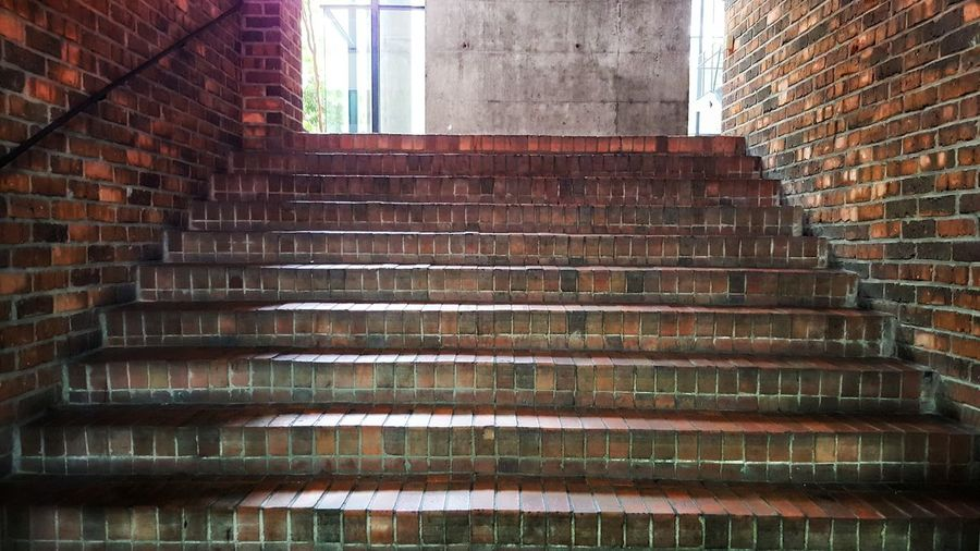 red brick stairs Built Structure Architecture Steps Indoors  Brick Wall Staircase Steps And Staircases No People Low Angle View Building Exterior Day City Light