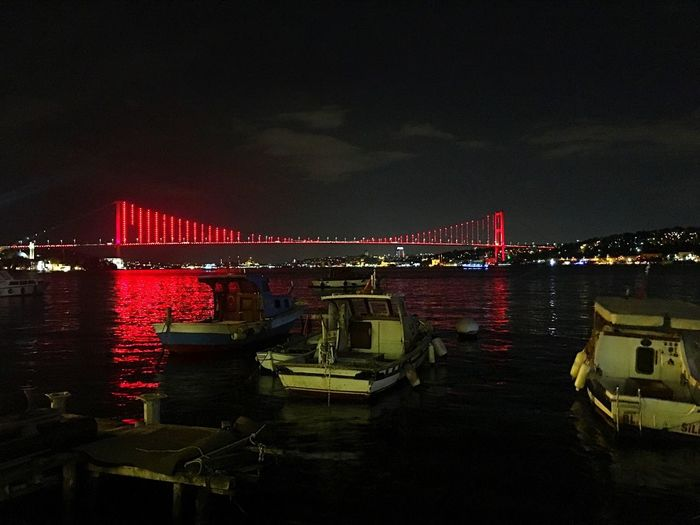 İstanbul🇹🇷 Istanbul Boshphorus Istanbul Boğazı Türkiye Turkey🙈😊 Night Illuminated Water Sky Architecture Built Structure Reflection Nature Red Building Exterior No People Bridge City Festival Mode Of Transportation