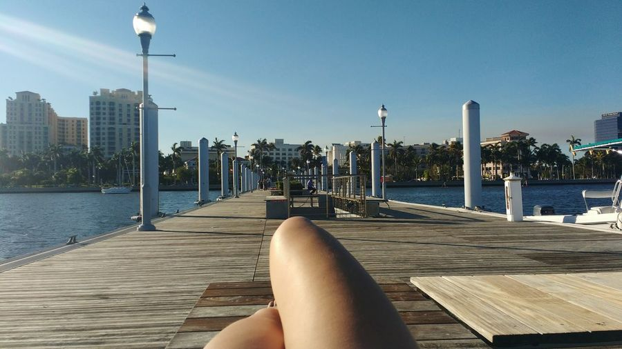 Water Human Body Part Outdoors Only Women Adults Only One Woman Only One Person Low Section Women Vacations Sky Day Adult Dock West Palm Beach Florida Tourist