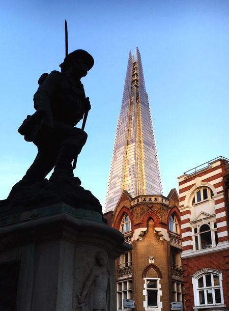 St Saviours Southwark War Memorial London Southwark  St Saviours War Memorial War Memorial Shard The Shard Perspective Statue Bronze Soldier Ww1 London_only London Streets Travel Dusk Sky Blue Sky