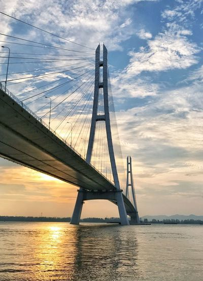 The third Nanjing Yangtze river bridge at sunset Cloud Highway Yangtze River Sky Water Cloud - Sky Bridge - Man Made Structure Built Structure Bridge Connection Sunset Transportation Architecture Suspension Bridge Engineering Nature City Travel Outdoors