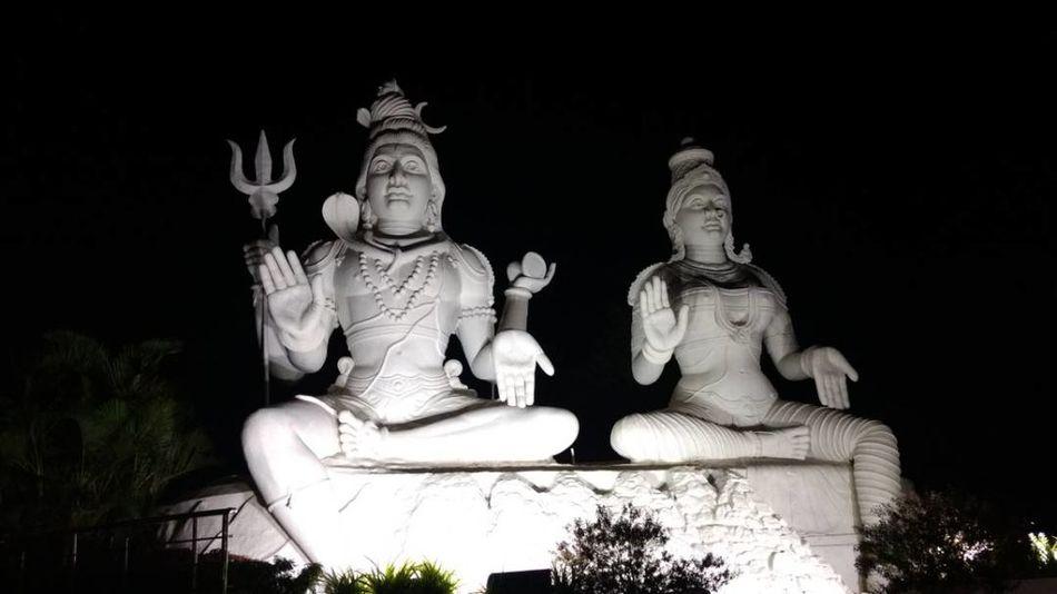 Night photography. Sculpture Divine Beauty Shivshakti Kailashgiri