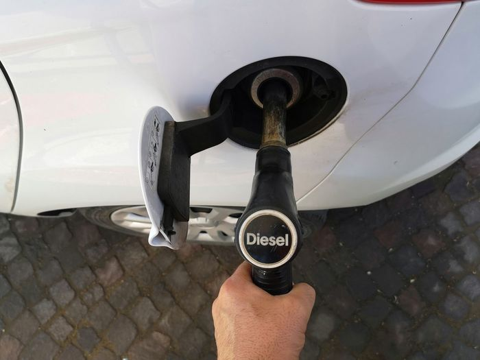 Refueling Gasolinestation Gasoline Pump Diesel Provision Human Hand Men Space Holding Close-up Personal Perspective