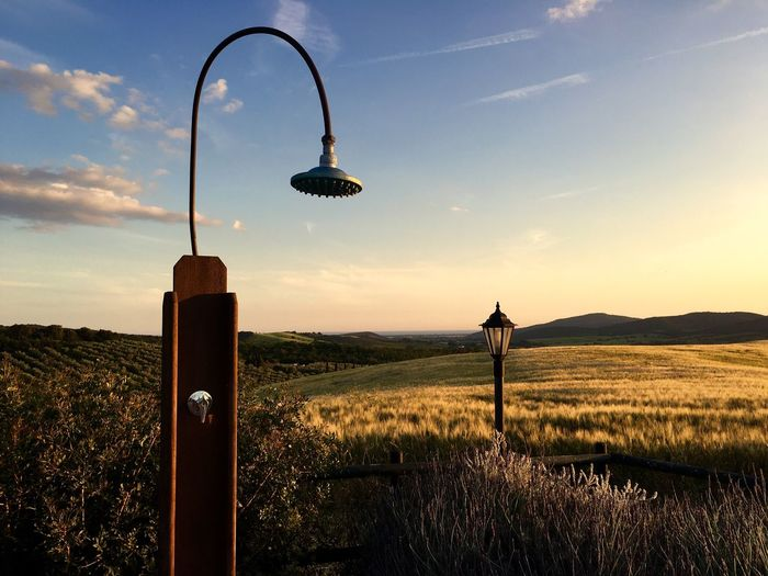 Shower Head With Lamppost At Agricultural Landscape