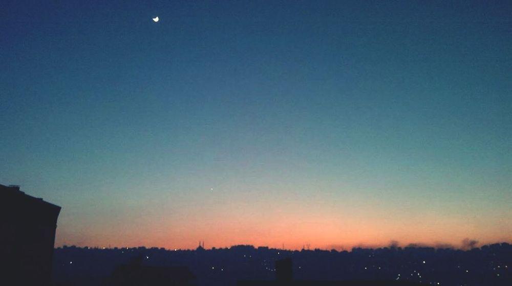 Moon Moonlight Sky Sunset Trabzon Bostancı