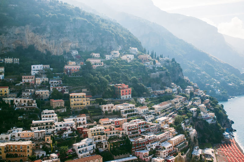 High angle view of buildings on mountains at positano