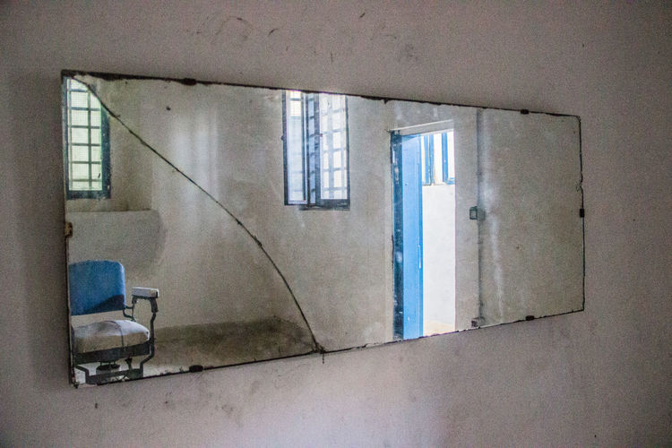 Architecture Asinara Barber Blue Chair Day Indoors  Mirror No People Prison Prison Cell Reflex Room Sardegna Sardinia Sunlight Window