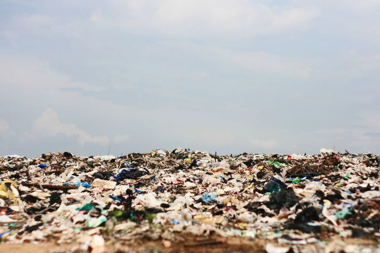 Close-up of garbage against sky