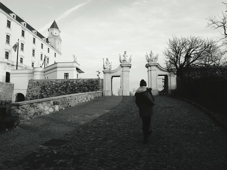 Winter Walking Palace Bratislava, Slovakia Castle Black And White Atmospheric