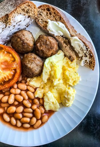 Breakfast Swedish style View From Above Bread Scrambledeggs Beans Baked Beans Shotoniphone7 ShotOnIphone Meatballs Meatball Swedish Food Umeå Breakfast Plate Food Prepared Potato Food And Drink Baked Beans Ready-to-eat Meat Close-up Freshness Food Stories