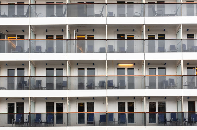 Cruise ship cabins Built Structure Window No People Full Frame Day Outdoors Glass - Material Backgrounds Modern White Color Side By Side Pattern Repetition Apartment Cruise Ship Balcony Cabin Ship Transportation