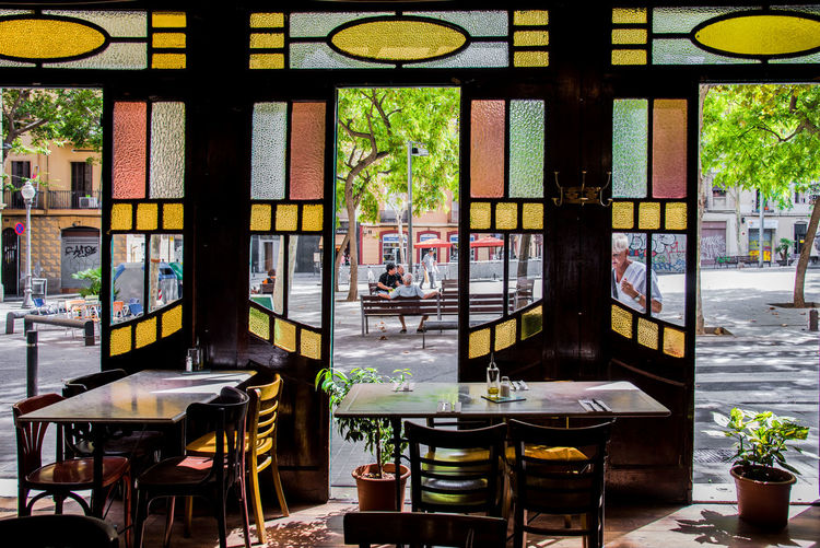 Ancient Barcelona Best EyeEm Shot Catalunya Old Cafe Stained Glass Summertime Architecture Art Deco Art Deco Architecture Cafe Chair District Food Indoors  Interior Lifestyles Modernism Modernist Popular Restaurant Stained Summer Table Window
