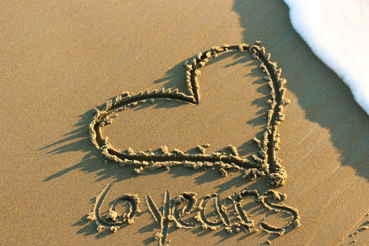 Close-up of heart shape on sand at beach