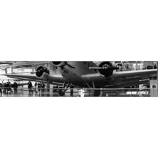 Panoramic photo. Old Airplane .at the Aeronautics and aviation exhibition at the DeutchesMuseum museum. Taken by MY SonyAlpha Dslr A57 . münchen Munich bayarn Bavaria Germany Deutschland. متحف قسم طيران طائرات ملاحة ميونخ المانيا بافاريا