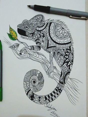 Chameleon Mandala Drawing Sketch Art Tattoo Design