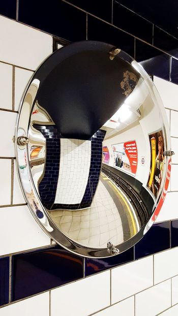 Convex Mirror Convex Mirror Tube Tube Station  Rail Indoors  City Reflection Platform