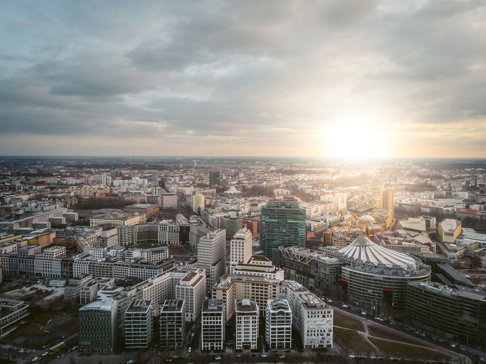 Architecture Business DJI X Eyeem Financial District  From Above  Tiergarten Aerial View Architecture Building Exterior Built Structure City Cityscape Day Dronephotography High Angle View Office Building Exterior Potsdamer Platz Skyscraper Sun Sunrise Sunset Travel Destinations
