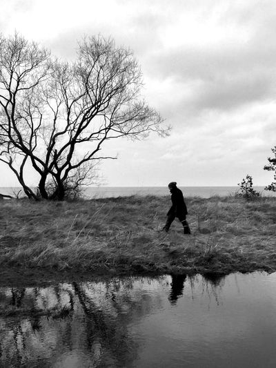 Water Everywhere Black And White Blackandwhite Bastad Silhouette One Person Sky Water Tree Nature Outdoors Sea Day