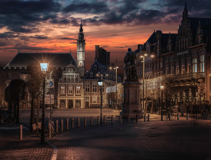 Downtown Haarlem Old Buildings Historical Monuments Historical Building Haarlem Noord Holland Nederland Netherlands Downtown Illuminated Mood Moody Sky No People Latern Street Lights City Cityscape Urban Skyline Sunset Sky Architecture Cloud - Sky