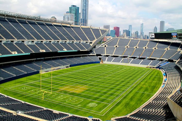 Empty soldier field stadium against sky