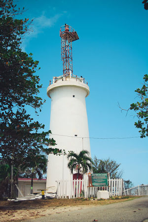 Architecture Blue Building Exterior Built Structure Clear Sky Day Lighgthouse Lighthouse Low Angle View No People Outdoors Safety Sky Toco Tree Trinidad And Tobago