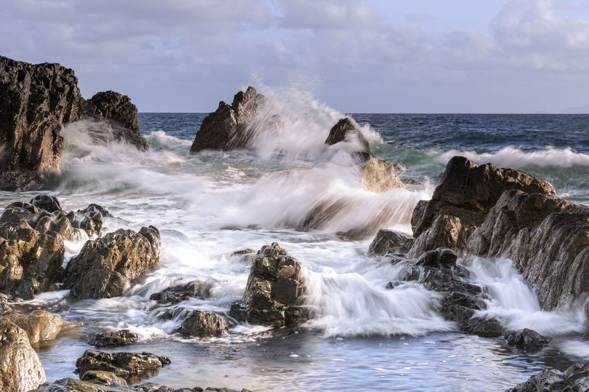 Beauty In Nature Day Hitting Horizon Over Water Long Exposure Motion Motion Blur Nature No People Outdoors Power In Nature Rock - Object Scenics Sea Splashing Water Wave