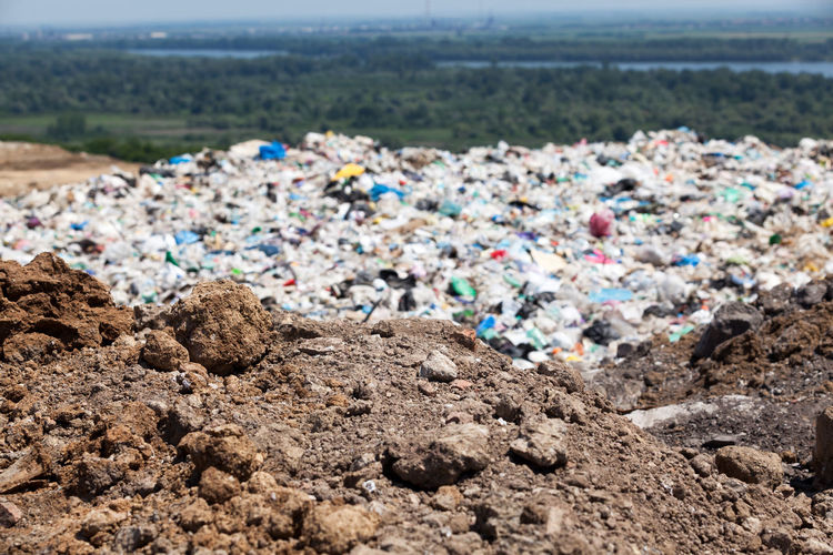 High angle view of garbage on recycling center
