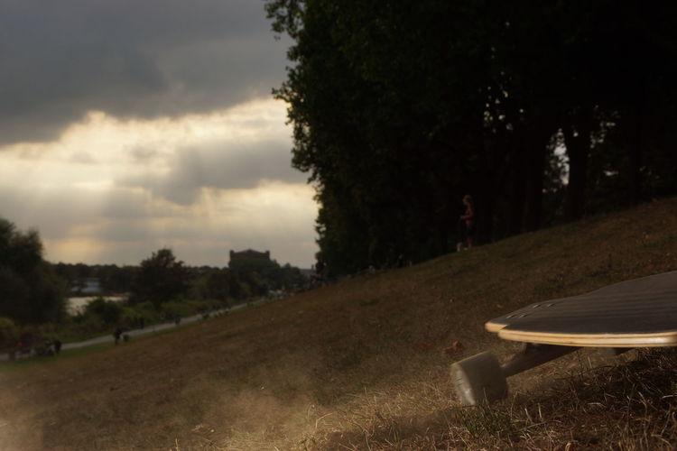 """""""Deichbremse"""" mal anders interpretiert Beauty In Nature Board Bremen Cloud - Sky Deich  Dust Dusty Dusty Track Longboard Longboarding Nature Osterdeich Truck Wheel Wheels EyEmNewHere"""