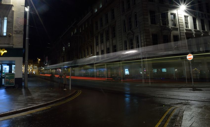 Nottingham ghost Tram Blurred Motion Light Trails Light Trail Photography Nottingham Market Square Nottingham Market Square Long Exposure Shot Long Exposure Night Photography Tram Night City Light Trail City Street Street Speed Transportation Long Exposure Road Outdoors Mobility In Mega Cities