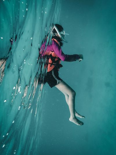 One Person Sea Water Full Length Underwater Swimming Sport Nature Adventure Leisure Activity UnderSea Adult Lifestyles Women Aquatic Sport Clothing Real People Turquoise Colored The Creative - 2018 EyeEm Awards